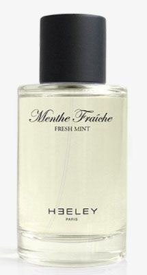 Menthe Fraiche James Heeley. Top notes are mint leaf and Sicilian bergamot. The heart contains lotus and mate, and the base is formed of white cedar.
