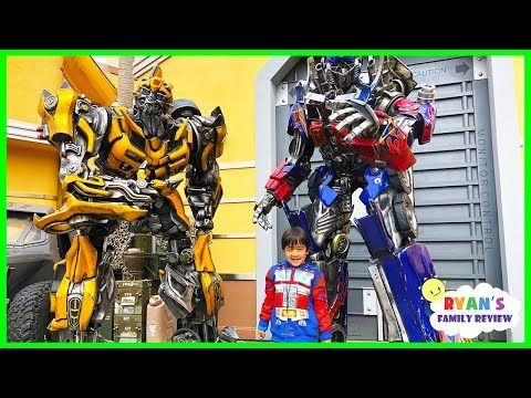 Life Size Transformers Optimus Prime and Bumblebee at Universal Studios Amusement Park! - YouTube