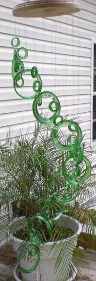 RECYCLING WINE BOTTLES into windchimes, eco friendly and green, wind chimes, mobile, musical and colorful, wind chime 197. $50.00, via Etsy.