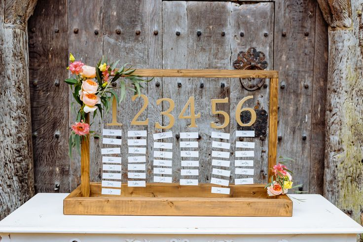 Wooden Table Plan with 3D Gold Glitter Table Numbers | Claire Pettibone Wedding Dresses | Romantic And Feminine Bridal Inspiration Shoot | Birtsmorton Court | Styling By Pumpkin Events | Flowers From Passion for Flowers | Images From Daffodil Waves Photography | http://www.rockmywedding.co.uk/a-claire-pettibone-floral-delight/