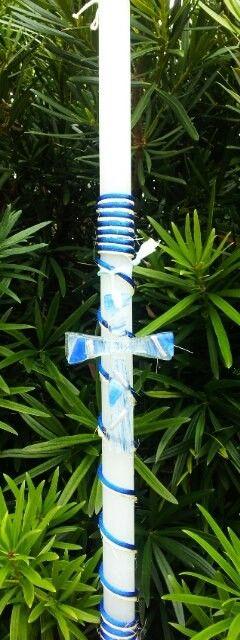 Glass Cross Easter Candle, $35.00 at Greek Wedding Shop ~ http://www.greekweddingshop.com