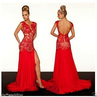 Long Red slit Lace Wedding dress Bridal Ball gown Prom Party Evening Formal NEW