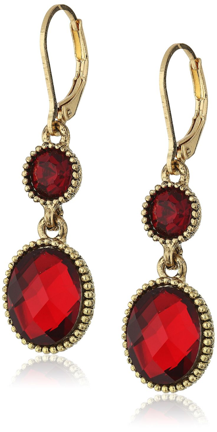 Napier Gold-Tone and Red Double Drop Leverback Stud Earrings. Made in China. Gold-Tone and Red Double Drop Leverback Earrings. Imported. cn.