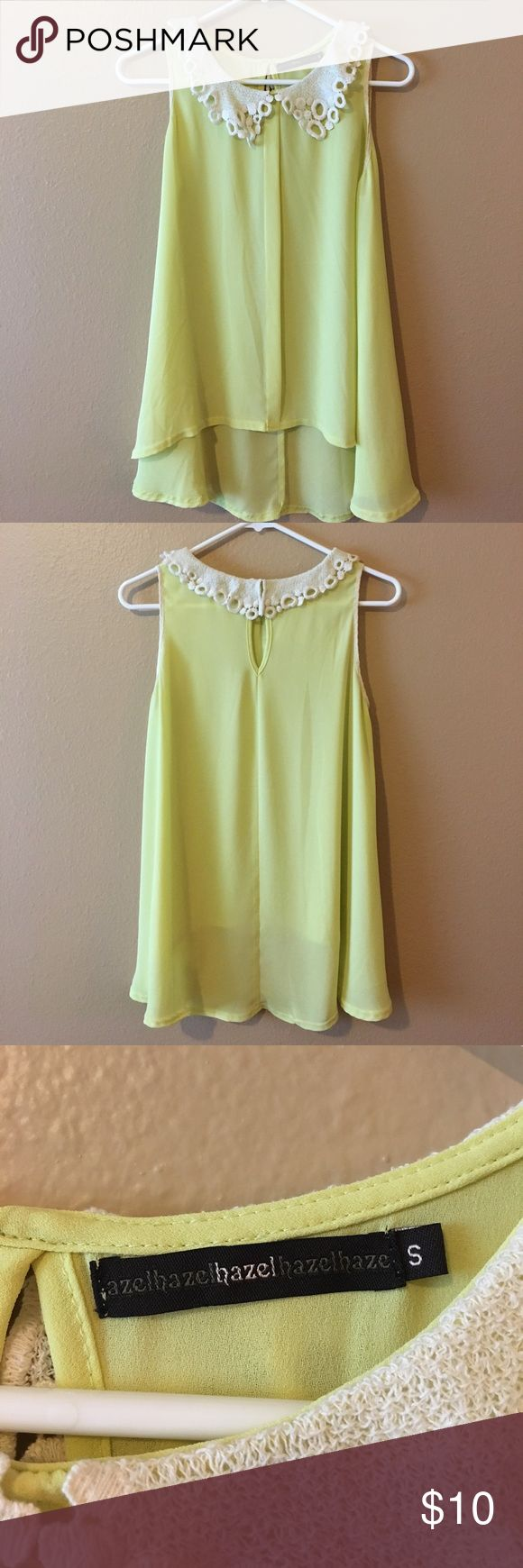 Bright yellow tank top in size small Bright yellow tank top in size small. Worn a handful of times. Perfect for Spring and Summer! Brand is Hazel. Hazel Tops Tank Tops