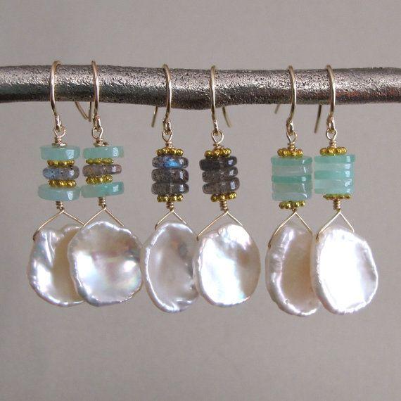 Weekly Special Keishi Pearl Drop Earrings by tangerinejewelryshop