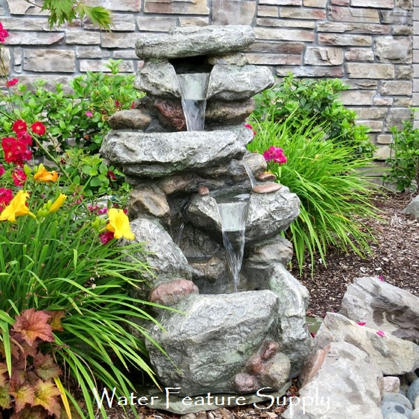this outdoor fountain is ideal for any setting built to last this garden waterfall