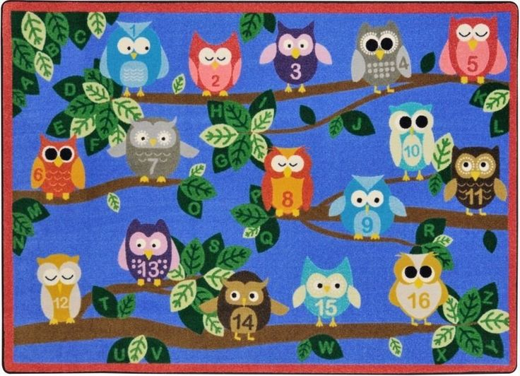 The It's A Hoot Classroom Rug features wise owls on that love to teach everyday. Keep little learners entertained while they practice their alphabet and numbers. Teach organization by having each chil