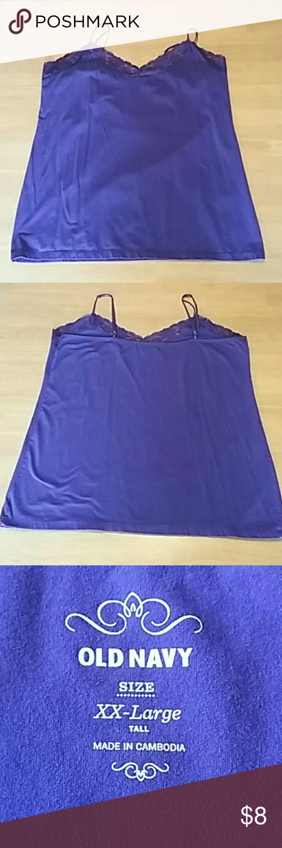 "Old Navy Purple Cami Purple camo with adjustable spaghetti straps, lace trim. 42"" bust, 44"" waist, 22"" long from armpit to hem. Excellent condition, only worn a couple times. XXL Tall. Old Navy Tops Camisoles"