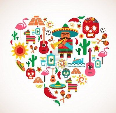 Mexico love - heart with set  Stock Photo - 15443782