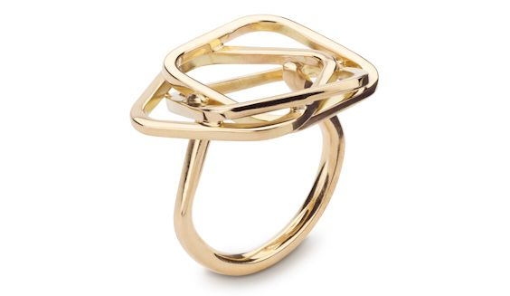 Handmade 18ct yellow gold square rose ring