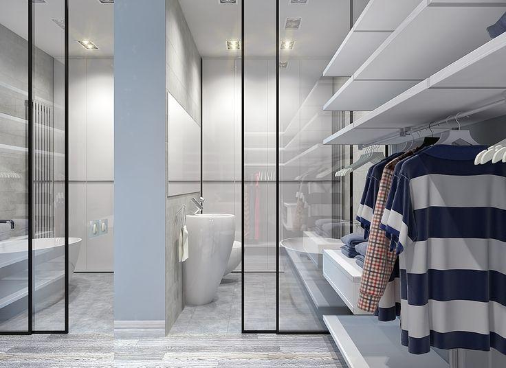 Слево огромное зеркало, увеличивающее пространство гардеробной, которая граничит с ванной. Спальня расположена сразу за зеркальной перегородкой слева)