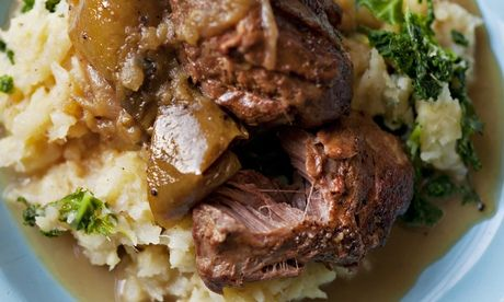 Turn the other cheek: Nigel Slater's pigs' cheeks with apples and cider recipe. Photograph: Jonathan Lovekin for the Observer