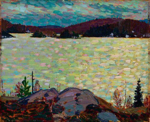 Islands, Canoe Lake - Tom Thomson , 1916 Canadian 1877-1917 Oil on Wood 21.4 x 26.2 cm