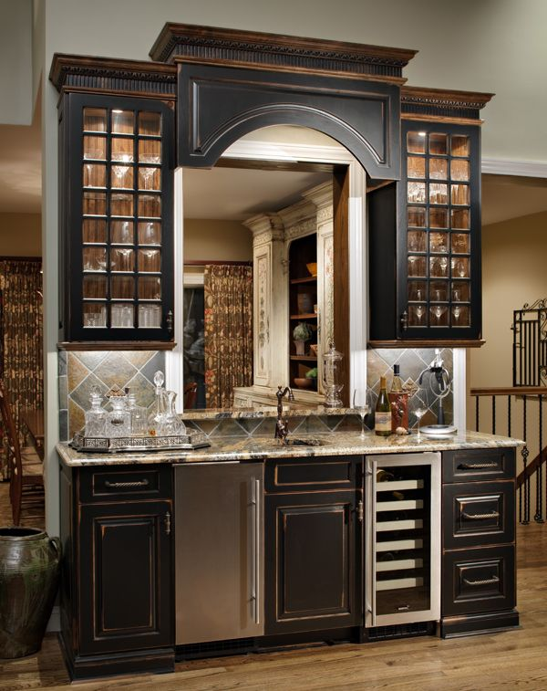Wet Bar area painted black with heavy distressing