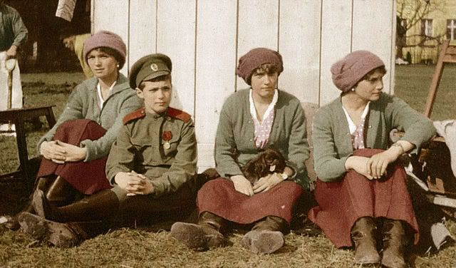 Olga, Alexei, Anastasia, & Tatiana in captivity at Tsarskoe Selo, 1917