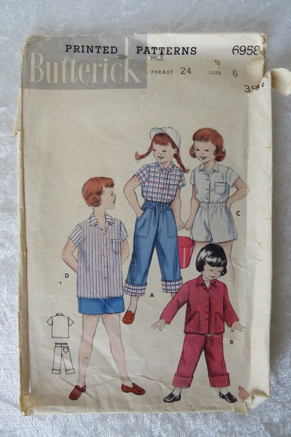 Vtg Butterick Sewing Pattern Retro Look Girl's Long/Short
