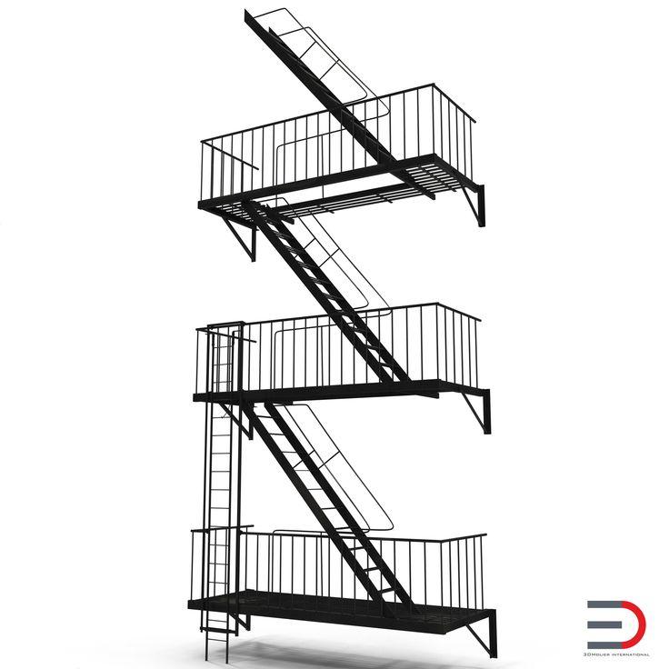 Fire Escape Stairs 3d model #FireEscape #Stairs #3d #model http://www.turbosquid.com/3d-models/escape-stairs-3d-model/963587?referral=3d_molier-International