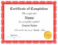 Certificate of completion template in PDF and DOC formats. The course name is editable, so the template could be used for anything. Free downloads at http://mycertificatetemplates.com/download/certificate-of-completion/
