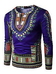 Heren Eenvoudig Actief Lente Herfst T-shirt,Uitgaan Nette schoenen Geometrisch Ronde hals Lange mouw Blauw Rood Groen Geel Paars Katoen
