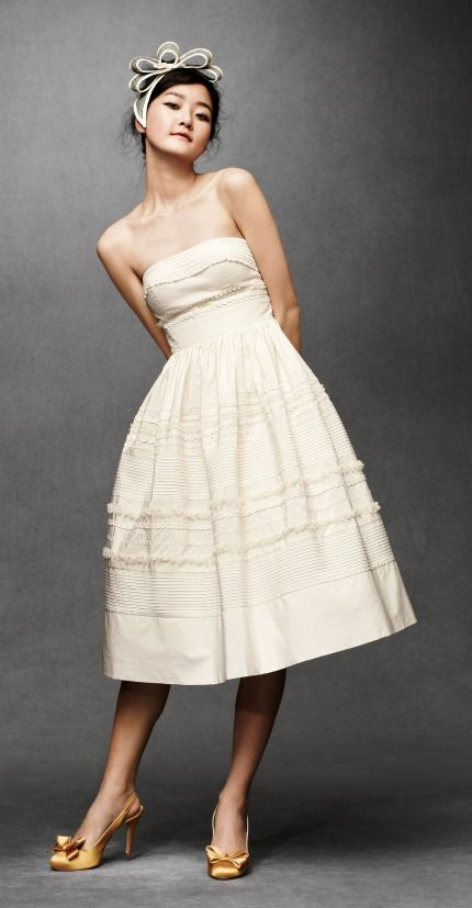 cream tea length wedding dress