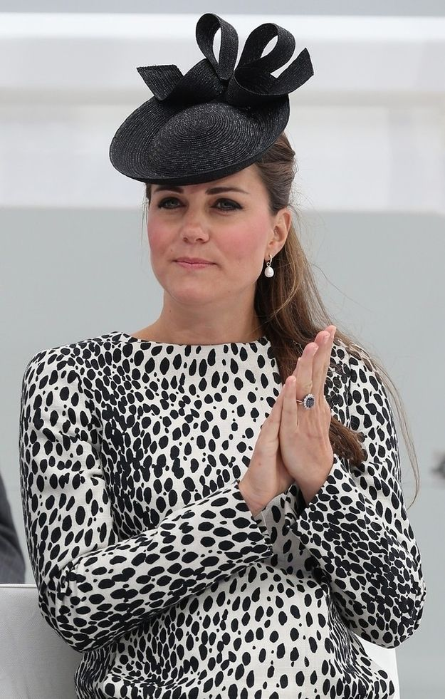 In a subtle nod to the day's nautical theme, she also wore a fascinator that looks a little bit like a hovercraft.