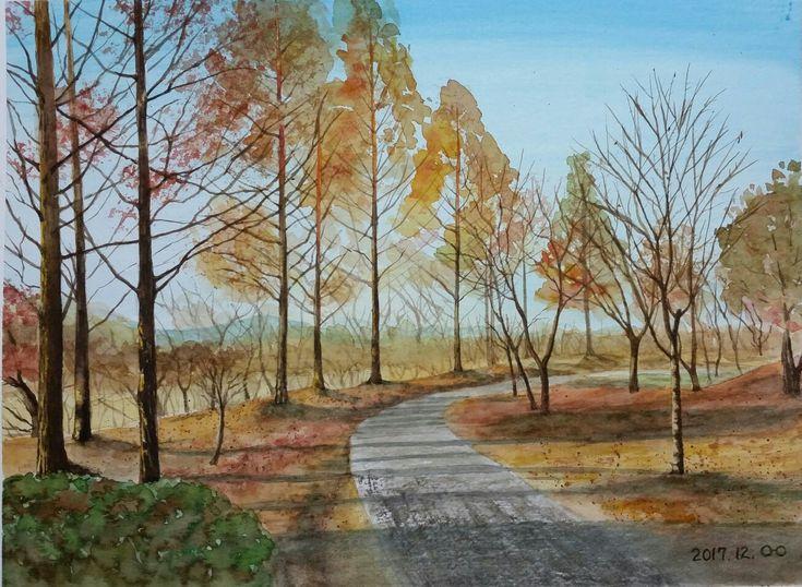 landscape  watercolor  초겨울