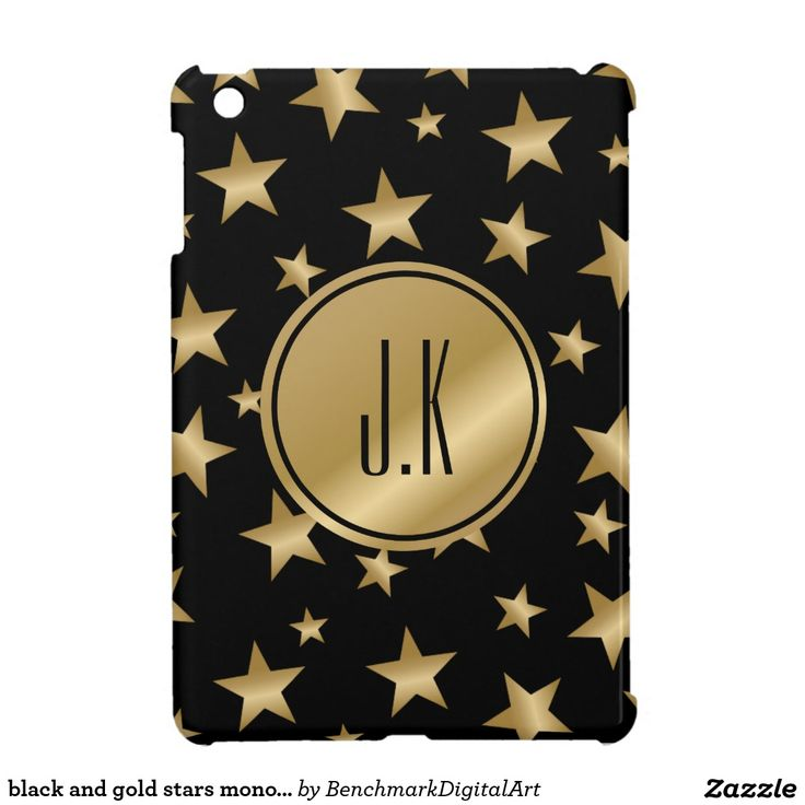 black and gold stars monogrammed ipad mini case