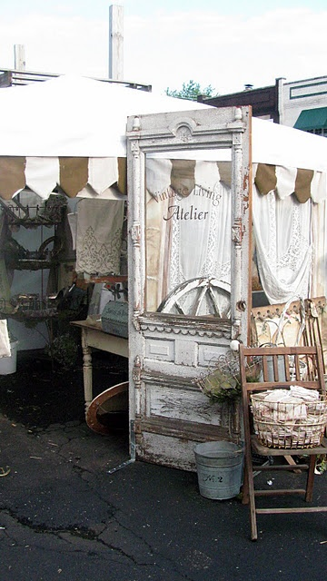 Vintage Shabby Chic.. I would put a mirror in place of the glass in the door