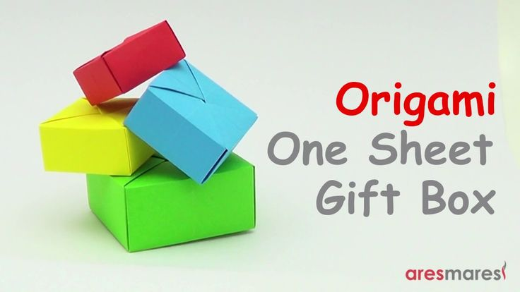 Origami gift box (easy - single sheet of paper) Easy origami gift box made from a single piece of paper #origami #tutorial #paper folding