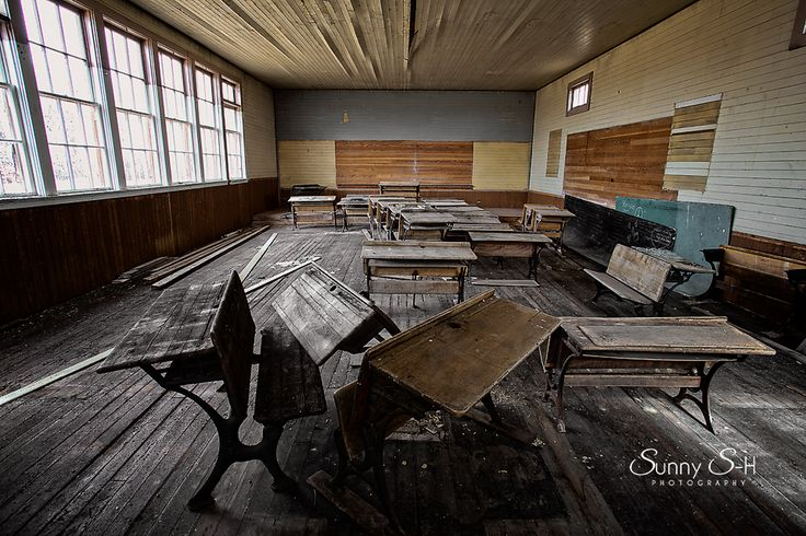 Abandoned one room school house in rural Manitoba.