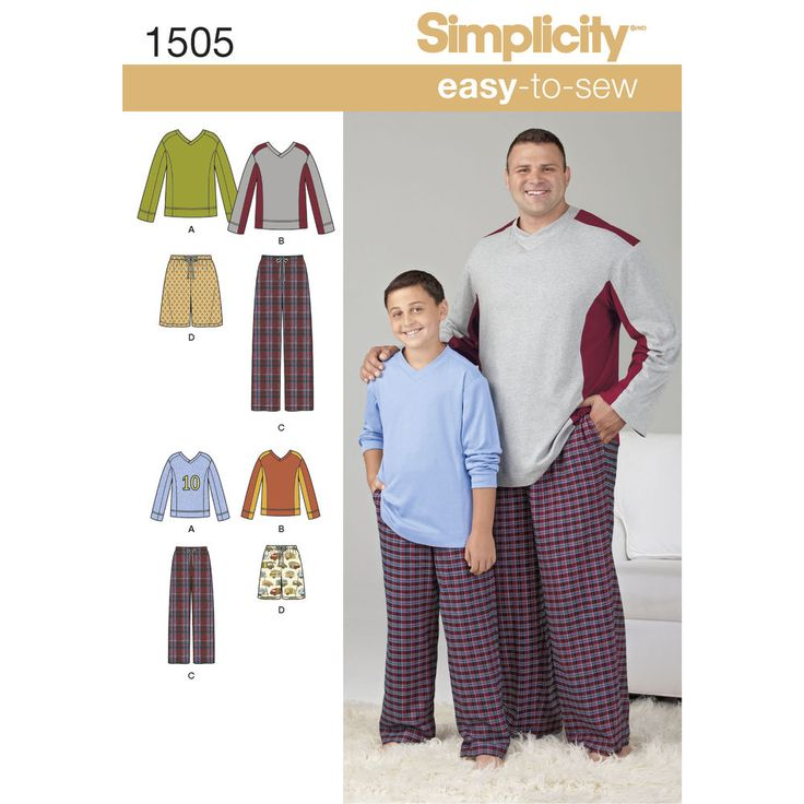 Get comfortable in this loungewear for husky boys and big and tall men. Pattern includes color block long sleeve knit top and drawstring pants or shorts with elastic waist. pants can be knit or woven. Note: if used as sleepwear, use fabrics and trims that meet the flammability standards set by the U.S. Government. Simplicity sewing pattern.