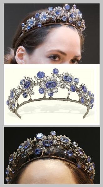 Barberini Tiara, circa 1850. Christie's Laura Vere-Hodge poses with the antique sapphire and diamond tiara, part of the Barberini Jewels Parure, Italian. The sapphire and diamond tiara, necklace, ear pendants, and brooch were sold as a parure at Christie's Geneva in 1971.