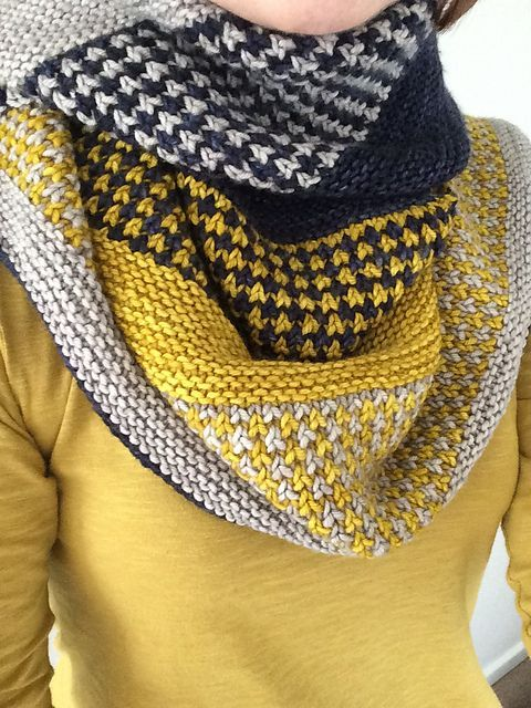 Snow Day Shawl by Knitting Expat Designs | malabrigo Rios in Frank Ochre, Pearl and PAris Night