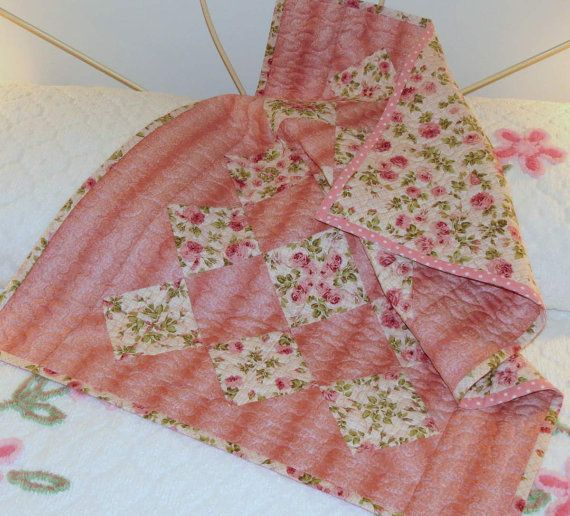 Baby Quilt Pink Kaleidoscope 4-patch by MiniMade on Etsy -37 inches by 28 inches
