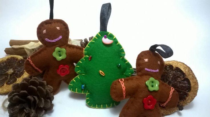 Gingerbread Men Decorations - Christmas Tree decorations- gingerbread men by NJscollection on Etsy