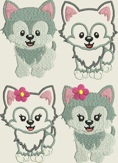 Stickmuster - Stickdatei Wolf * Hund Füllstich und Applikation  - ein Designerstück von Kerstins-Naehstuebchen bei DaWanda