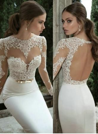 Vestidos De Noiva 2014 Bridal Gowns New Arrival Sexy Long Sleeves Sheer Lace Mermaid Wedding Dresses BO3117