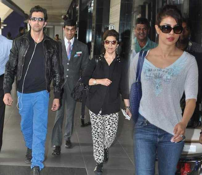 Why Pinky Roshan accompanied Hrithik Roshan, Priyanka Chopra to London. Krrish 3 lead actors Hrithik Roshan and Priyanka Chopra are back from London to boost the film promotions in India read more at http://daily.bhaskar.com/