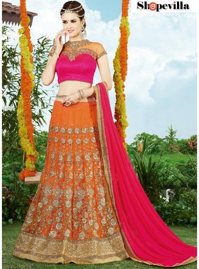 Designer Orange Color Wedding Wear Embroidered Net Lehenga Choli-9401