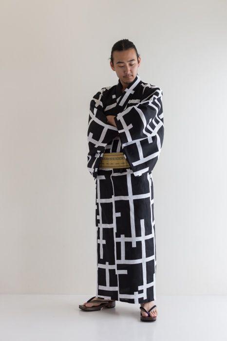 SOU・SOU×京都丸紅 浴衣/桟(さん) 濡羽色(ぬればいろ) - SOU・SOU netshop (ソウソウ) - 『新しい日本文化の創造』