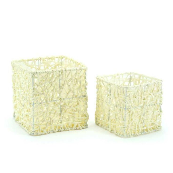 Square Paper Rope Basket S/2 16.5x16.5x15Hcm - Cream (10B-SQSet2-01) | Oceans Floralspecialises in the development and wholesale distribution of creative floral and gift presentation solutions. Through providing outstanding customer service, and maintaining superior delivery standards, Oceans has a well-earned reputation as market leaders in New Zealand's floral and gift packaging industry. Wedding, Wedding DIY, Favour, gifts,Christmas,