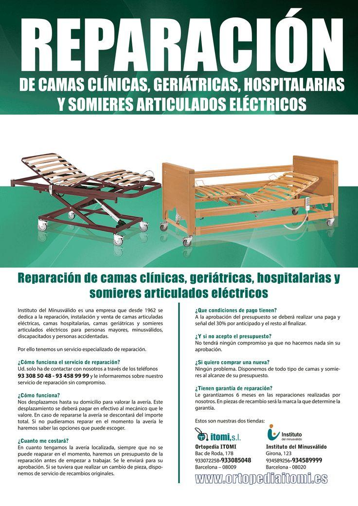 Reparación de camas articuladas, camas geriátricas, camas hospitalarias, camas clínicas, somieres, carro elevador, mando cama, barandillas, motores.