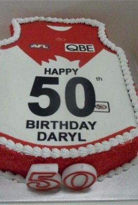 AFL Jumper Cake for Sydney swans from rnjcakes franks ton Victoria. 50th Birthday cake.