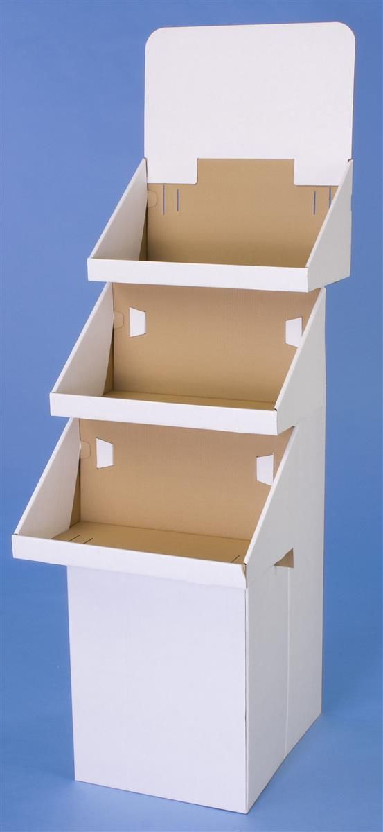 Tiered Cardboard Dump Bin for Floor, 3 Shelves, Removable Header - White