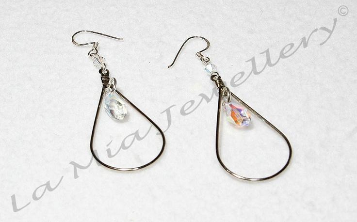 Swarovski Crystal Teardrop Earrings - Sterling Silver Hooks