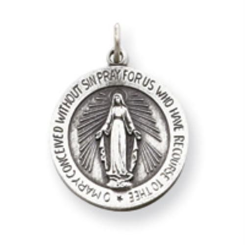 Sterling Silver Antiqued Miraculous Medal goldia. $19.97