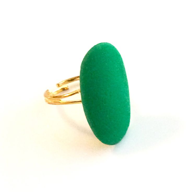 Green Polymer Clay statement ring - Boho Ring - Bohemian Ring - Clay Ring - Bohemian jewelry Canada - Oval adjustable ring - Gypsy ring by AnisasClayCreations on Etsy https://www.etsy.com/ca/listing/463767593/green-polymer-clay-statement-ring-boho