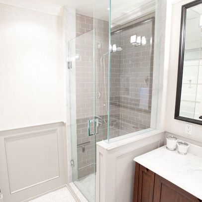 No frame shower with partial wall glass against vanity for Small bathroom no bath