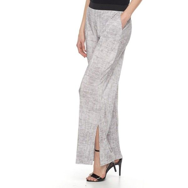 Women's Dana Buchman Printed Pleated Palazzo Pants (£25) ❤ liked on Polyvore featuring pants, silver, elastic waist pants, wide leg trousers, elastic waist wide leg pants, print pants and dana buchman pants