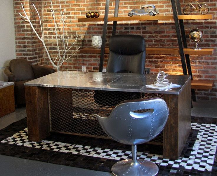 Urban Office Furniture Including Vintage Inspired Desks Seating Options Repurposed Style Tables Rugs And Storage